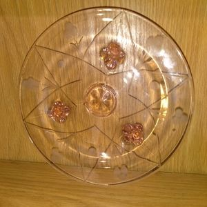 Other - Pink footed glass tray